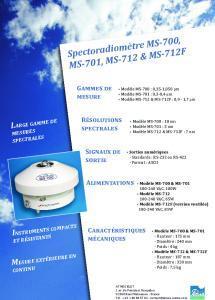 MS-700 et MS-701 Spectroradiomètres